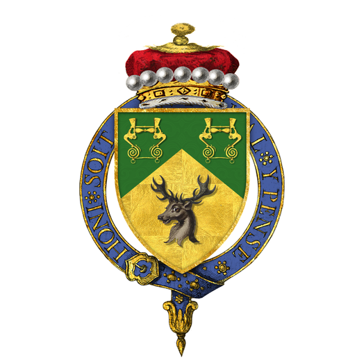 Garter-encircled shield of arms of Alfred Milner, 1st Viscount Milner, KG, as displayed on his Order of the Garter stall plate in St. George's Chapel. Shield of Arms of Alfred Milner, 1st Viscount Milner, KG, GCB, GCMG, PC.png