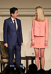 217f2ed380 Advisor to US President and businesswoman Ivanka Trump (right) along with  Japanese PM Shinzo Abe wearing Western-style business suits