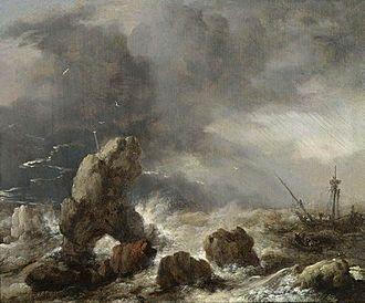 Philips Wouwerman - Image: Ships in a gail near rocky coast by Philips Wouwerman