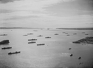 Antsiranana - Warships and British merchant ships in the Antsiranana harbor after the French had surrendered on 13 May 1942.