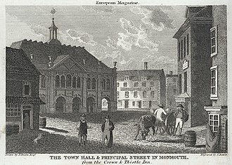 "Shire Hall, Monmouth - ""The Town Hall and Principal Street in Monmouth, from the Crown and Thistle Inn"""