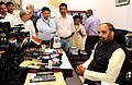 Shri Hansraj Gangaram Ahir interacting with the media after taking charge as the Minister of State, Home Affairs, in New Delhi on July 11, 2016.jpg