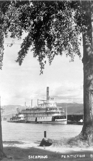 Sicamous (sternwheeler) at Penticton BC with tug, c1920.jpg 116 KB