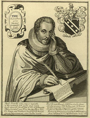 Thomas Overbury - Engraving of a younger Overbury. Made after his death by Renold Elstracke, c. 1615-1616