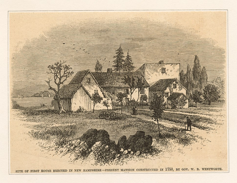 Site of first house in New Hampshire, present mansion constructed in 1750, by Gov. W. B. Wentworth (NYPL Hades-247509-423903)