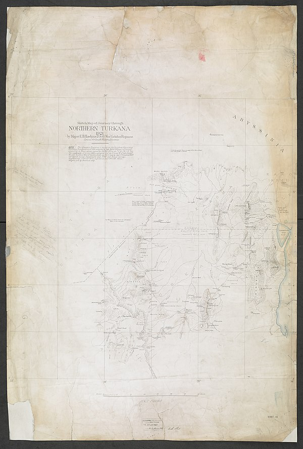 600px sketch map of journey through northern turkana 1921 %28womat afr bea 263 1%29