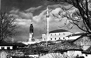Sultan Murad Mosque - Postcard of Skopje, Sultan Murat Mosque and Clock Tower, 1939