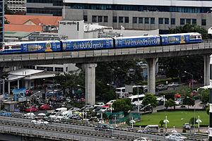 BTS Skytrain - Skytrain departing Sala Daeng Station