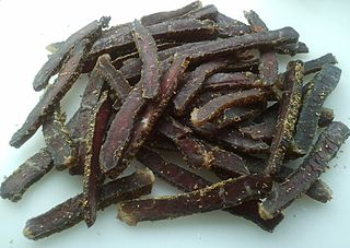 Biltong A form of dried, cured meat that originated in South Africa