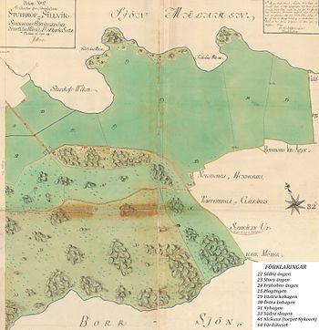 Sturehof og Sillvik da Carl Wahrendorff overtog ejendommen (del 1, den vestlige del og del 2, den østlige del).   Den sydlige del af kortene er beskåret.   Ophavsmand:   Israel-af Strøm, 1792.