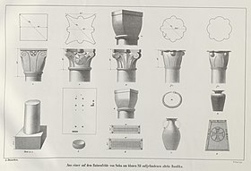 Pen and ink drawing of ornamented capitals