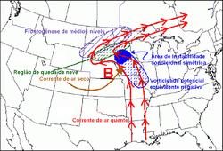 Região com mais probabilidade de queda de neve num ciclone extratropical