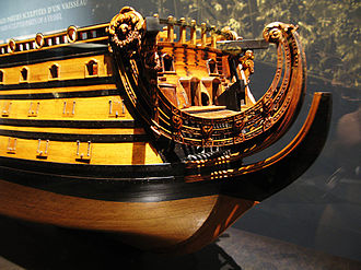 Stem (ship) - A model of the French ship ''Soleil-Royal'' held at the Musée National de la Marine de Paris.  The most forward and lowest curved part of the ship is the stem (not normally the extended part beyond the hull).