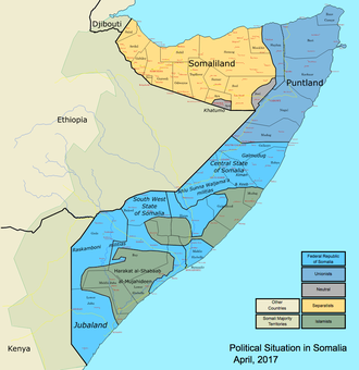 Transitional Federal Government - Political map of Somalia (as of 25 May 2012).