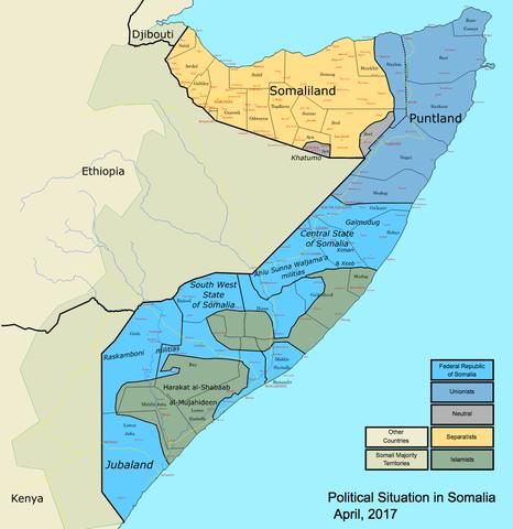 Karte mit der aktuellen Politischen Lage in Somalia