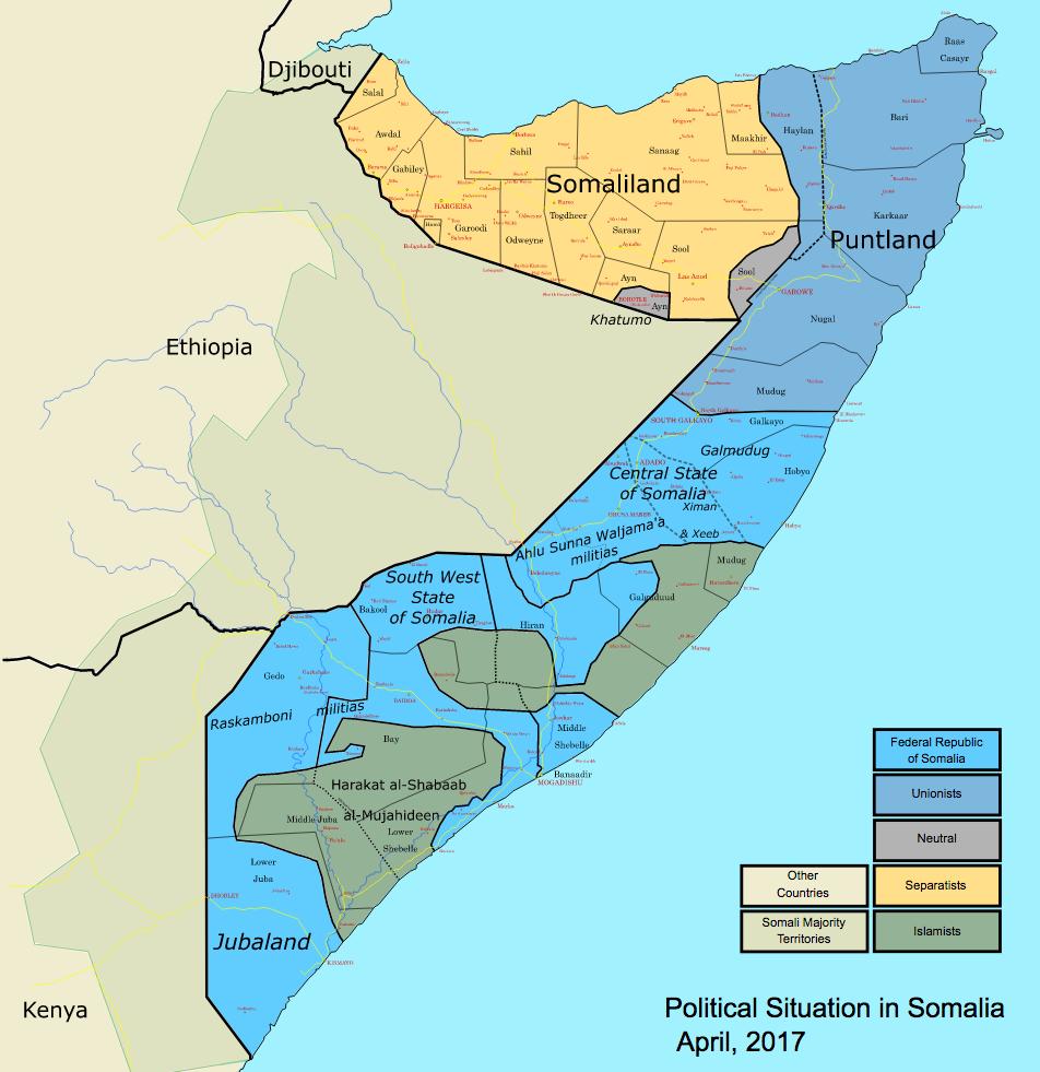 Somalia map states regions districts