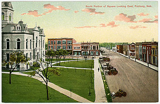 Fairbury, Nebraska - South side of courthouse square in early 1900s