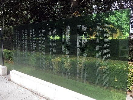 Glass panels inscribed with the names of the dead Southampton Cenotaph name panel.jpg