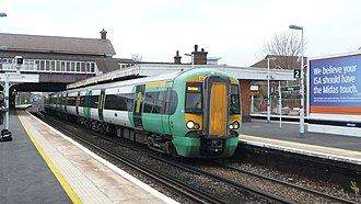 Horley railway station - Southern 377421 at platform 2 with a service to Horsham.