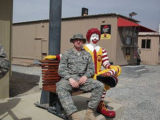 Ronald McDonald - A statue of Ronald McDonald at a military base in Southwest Asia