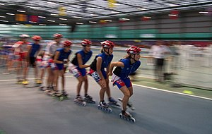 Inline speed skating - Competitors warming up before a race.