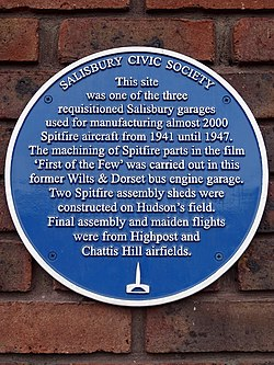 Spitfire manufacture in salisbury   blue plaque