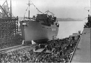 Park ship - Launch of SS Ashby Park at the Pictou Shipyard in 1944