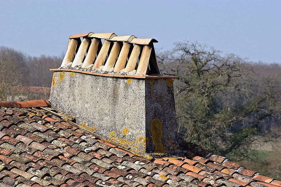 Typical tiled roof and chimney cowl, Saint-Quentin-de-Chalais, Charente, France.