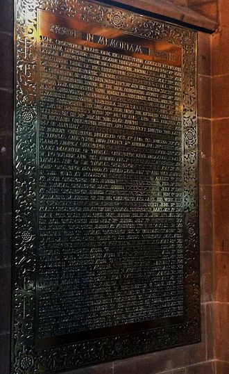 Richard Grosvenor, 1st Earl Grosvenor - St Mary's Church, Eccleston - The tablet in the new church which lists the Grosvenors buried in the demolished old church