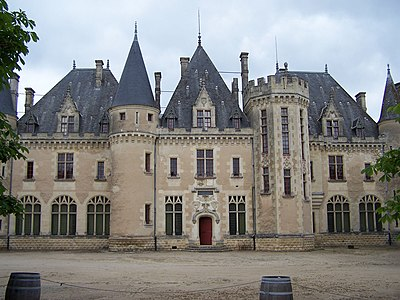Chateau de Montaigne, a house built on the land once owned by Montaigne's family; his original family home no longer exists, although the tower in which he wrote still stands St Michel de Montaigne Chateau01.jpg