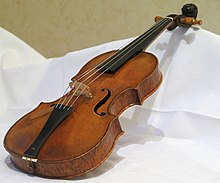 violin, diagonal view