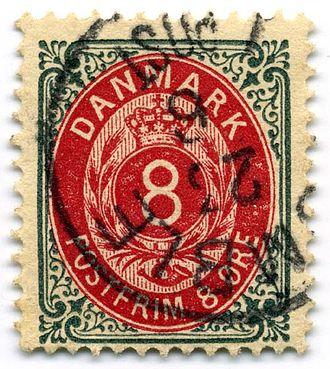 Postage stamps and postal history of Denmark - An 8-øre numeral stamp, perforation is post-1895.