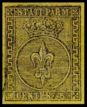 Postage stamps and postal history of Italy - The first stamp of the Duchy of Parma, Piacenza and Guastalla, 1852, 5 centesimi