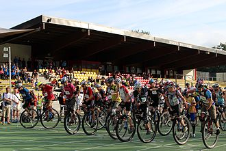 Unicon (unicycling) - Start of the 100 km race at the Unicon 16 in Brixen 2012