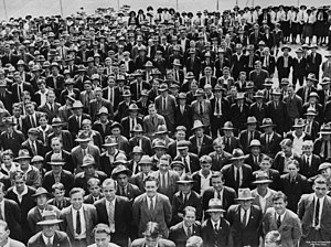 Brisbane State High School - Pupils listening to the Anzac Day address, 23 April 1932.