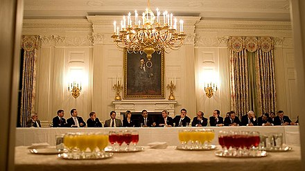 President Barack Obama meeting with the Blue Dog Coalition in the State Dining Room of the White House in 2009 State Dining Room 2009.jpg