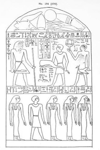 "Amenemhat II - Stela of the overseer of the chamber Senitef, who led the works at the ""first temple"". Servants are shown bringing offerings to a statue of Amenemhat II (upper left). British Museum, EA 576"