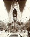 Stern view of Lusitania on stocks showing the propellers and the launching cradle (9008463747).jpg