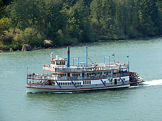 Tourist sternwheelers of Oregon - The sternwheeler M.V. Columbia Gorge, built in 1983, was one of the first replica steamboats built for tourism purposes in Oregon.