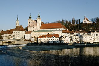 Steyr - Saint Michael's Church, at the confluence of the Enns and Steyr rivers