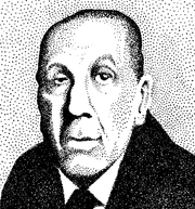 Stippled drawing of Borges.