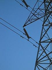 Stockbridge dampers on power lines.