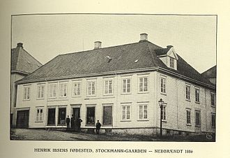 Knud Ibsen - Stockmanngården in Skien, where the Ibsen family lived at the time of Henrik Ibsen's birth. The family soon after inherited an even larger house, Altenburggården, from his parents-in-law, but they were forced to sell it when he went bankrupt.