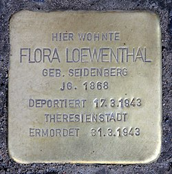 Photo of Flora Loewenthal brass plaque