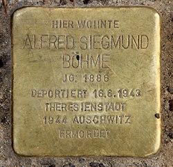 Photo of Alfred Siegmund Böhme brass plaque