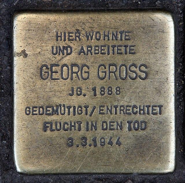 Photo of Georg Gross brass plaque