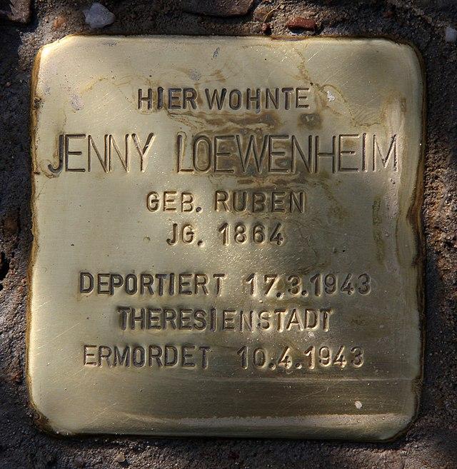 Photo of Jenny Loewenheim brass plaque
