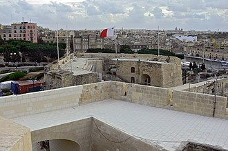 Fortifications of Birgu - Couvre Porte Counterguard as viewed from St. John Bastion