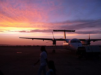 Transport in Kenya - Sunset at Moi International Airport, Mombasa