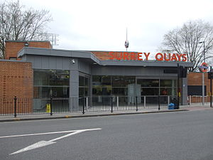 A200 road - Surrey Quays railway station on Lower Road